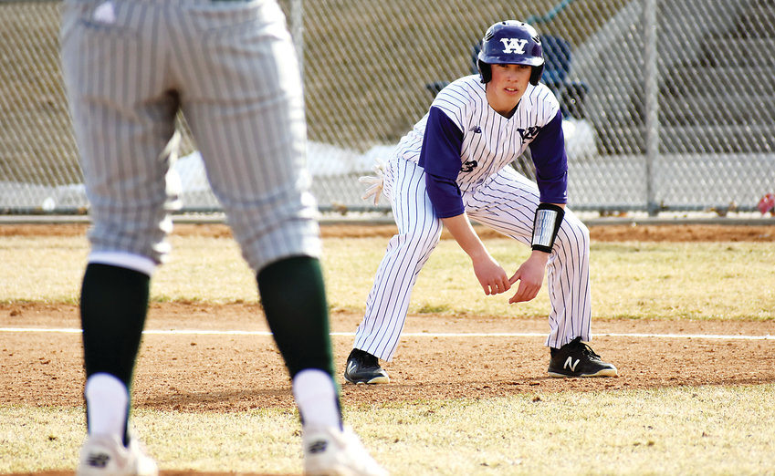 Arvada West junior Braden Thomson leads off first base during a non-league game March 19 against the defending Class 5A state champion Mountain Vista Golden Eagles. The Wildcats suffered a 10-7 loss before heading to Arizona for spring break.