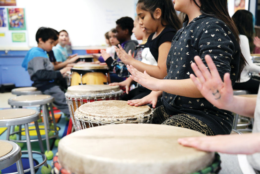 Fourth- and fifth-grade students learned to drum for their performing art during Art Day, a partnership with the Arvada Center.