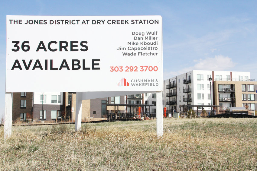A real estate availability sign at The Jones District on March 28, located near East Mineral Avenue along Interstate 25 in Centennial. Plans for the future mixed-use site, still largely undeveloped, are likely to be considered by the city in the coming months.