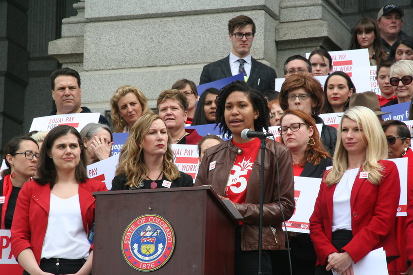 Ashley Panelli, representing 9to5, a national grassroots membership organization that advocates for women's equality, speaks on Equal Pay Day — April 2 — in favor of SB 19-085, the Equal Pay For Equal Work Act bill.