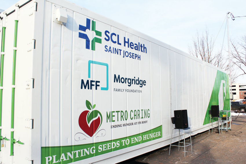 The freight garden is in a parking lot at Saint Joseph Hospital in Uptown. The garden space can grow up to two acres of food inside a controlled environment.