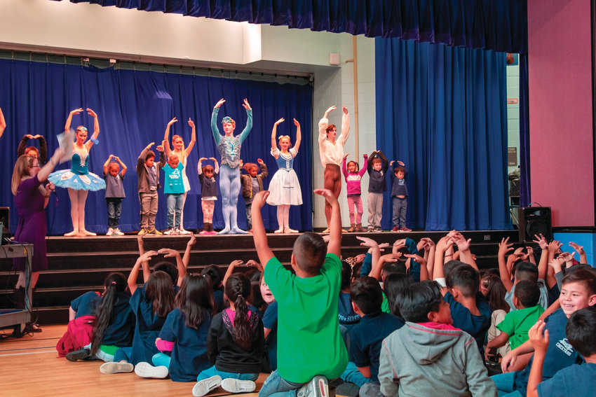 "Students from Castro Elementary School participate in Colorado Ballet's ""From the Page to the Stage,"" a 45-minute assembly that the ballet brings to local schools."