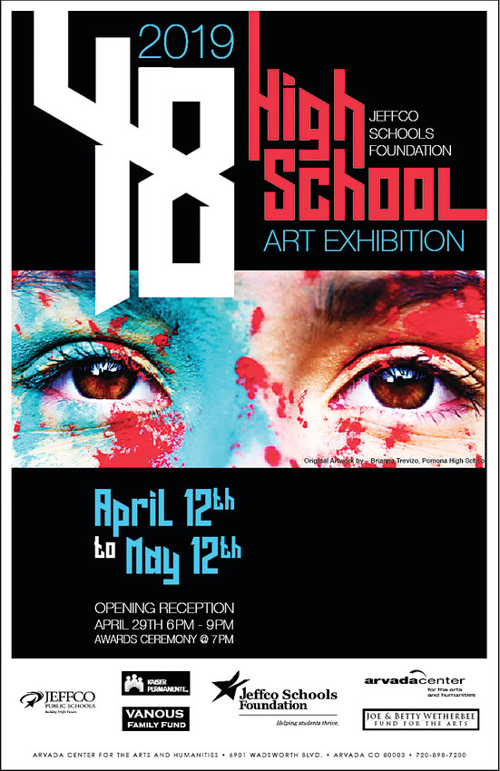 Flyer for the Jeffco high school art exhibition.