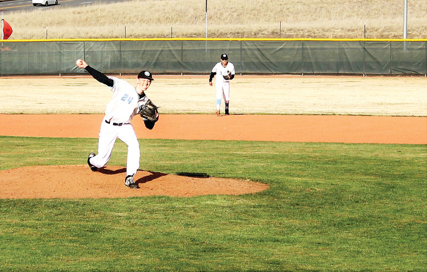 Mountain Range pitcher Tristan Wolf delivers a pitch in the sixth inning against Lakewood April 3.