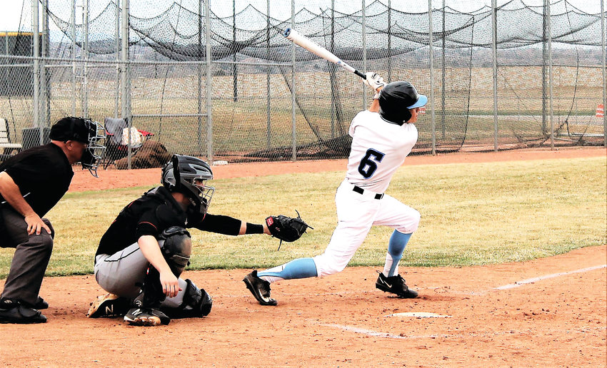 Mustangs' Braden Courter records a single April 3 against Lakewood.