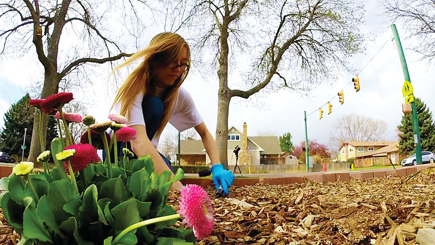 A Columbine student plants flowers at Dutch Creek Elementary School in April 2018 during the Day of Service.