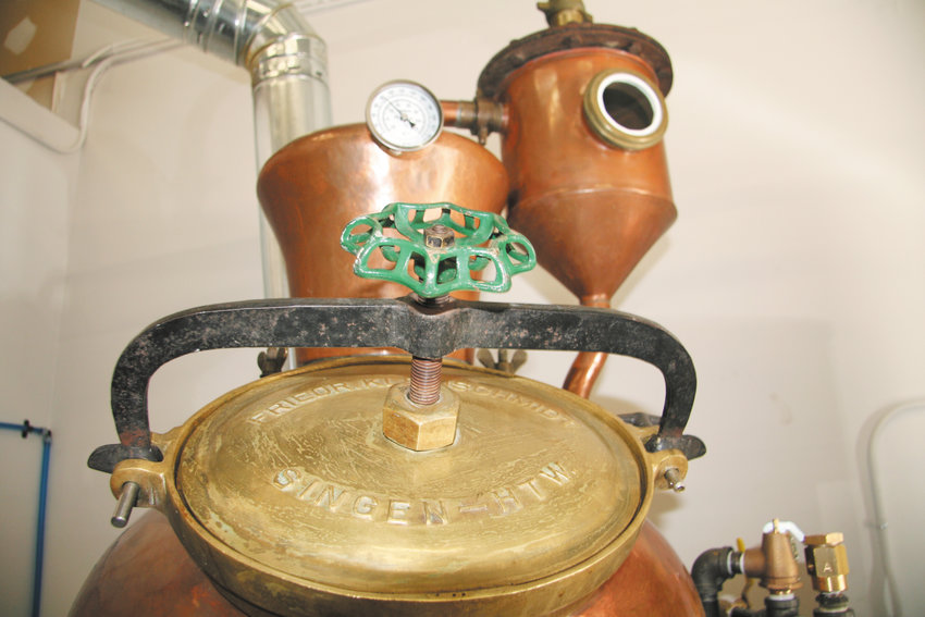 One of the two antique stills that were used to start the Golden Moon Distillery at 412 Violet St., Golden.