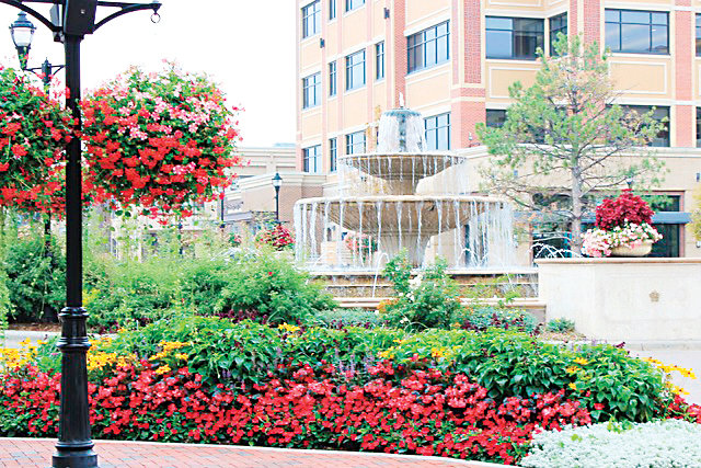Hanging baskets and containers were used to add color to the landscaping at the Streets at SouthGlenn. Centennial-based Sustainable Landscapes Colorado won an ELITE Award for Use of Color-Judges' Choice for the design.