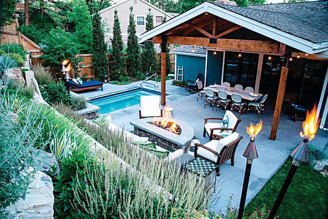 An Eclectic Hideaway, a landscape project at a home in Centennial, earned Designscapes Colorado an ELITE Award for Landscape Construction.