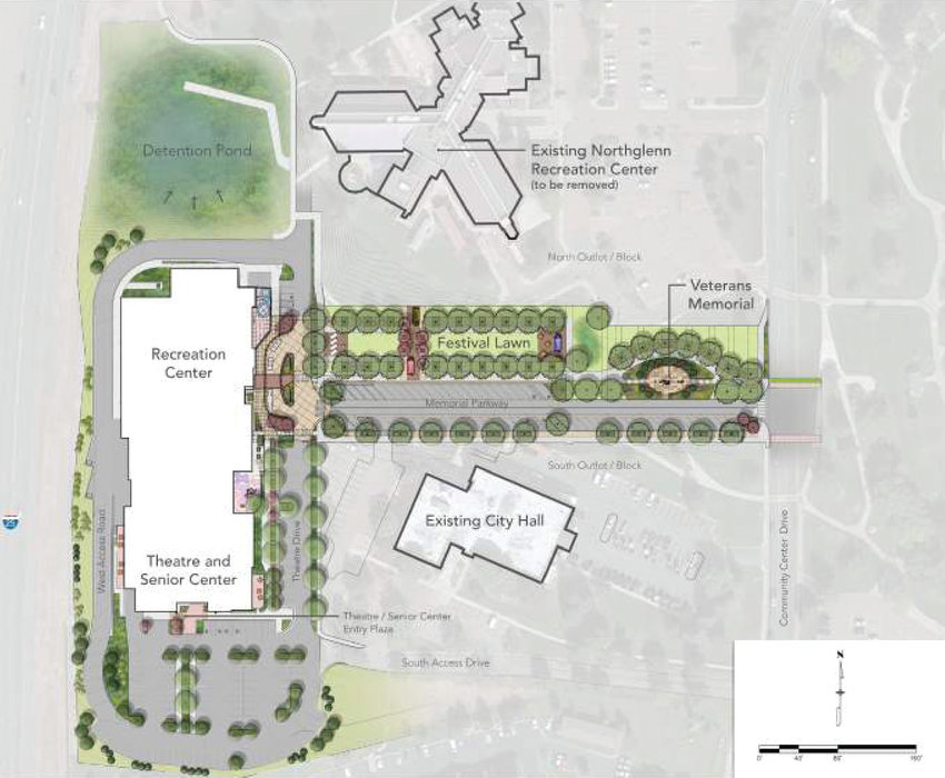 Architects are beginning the more detailed design work for Northglenn's planned civic center complex upgrade, shown in this site plan.