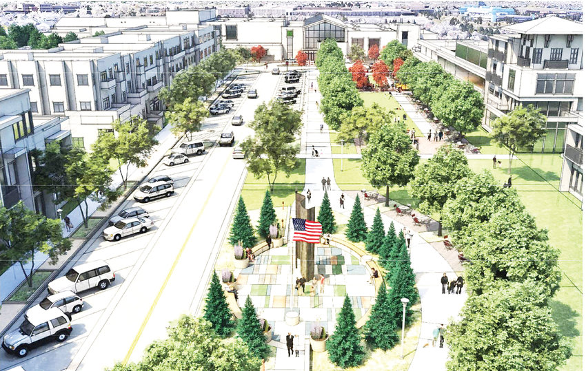 A birds eye view looking west above the new veterans memorial and parkway leading to the new Northglenn Civic Center, in an artist rendering.