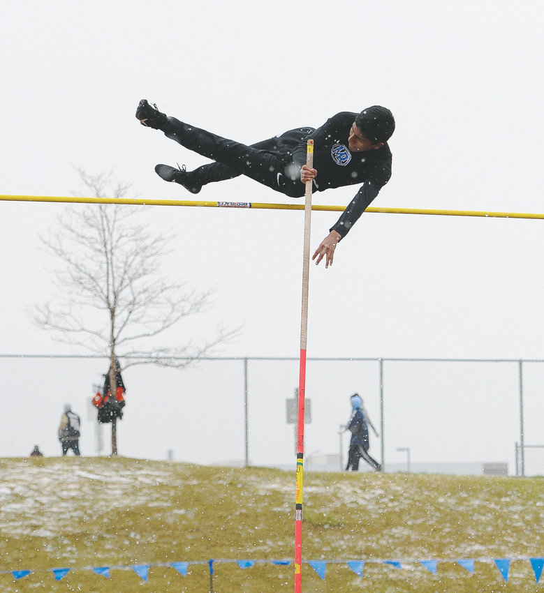 Mountain Range Junior Daimean Solis attempts a ten-foot vault during Boys' Pole Vault competition April 13 Mountain Range Invite Track and Field Meet at District 12 North Stadium in Westminster.