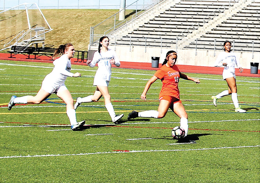 Legacy sophomore Danielle Gonzalez scores the team's third goal April 18 against Greeley West.