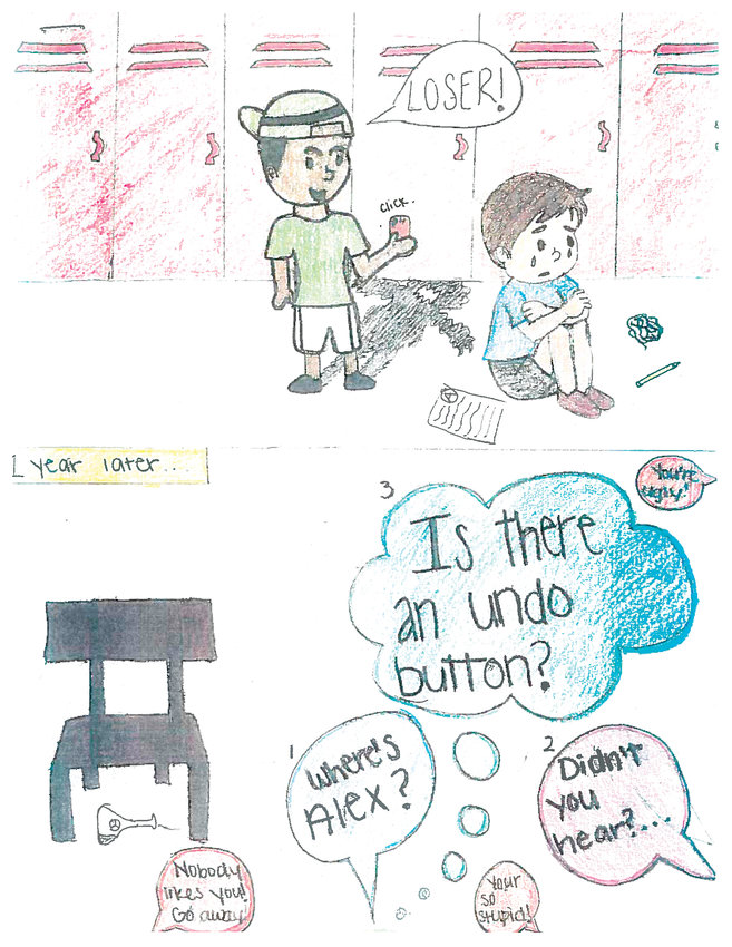 Editorial cartoon by Madison Young, seventh grade, Drake Middle.