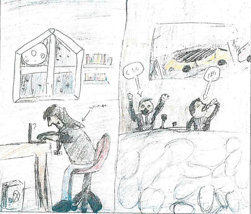 Editorial cartoon by Ian Moe, seventh grade, Drake Middle.