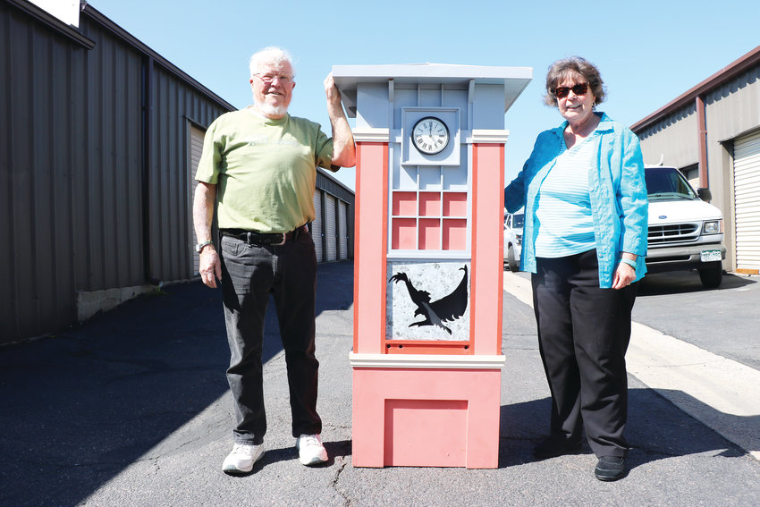 Norm Fox and Nancy Linsenbigler, members of the Highlands Ranch Historical Society, want to find a home for a 12-year-old clock that has been kept in storage. The piece closely resembles the iconic clock tower in Town Center.