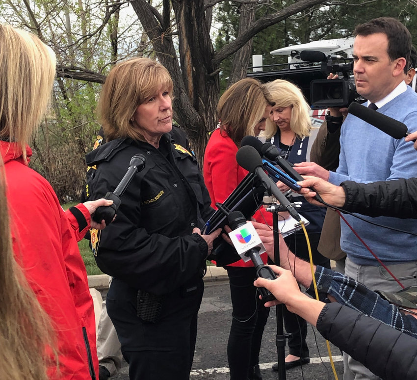 Undersheriff Holly Nicholson-Kluth updates the media on Tuesday's school shooting.