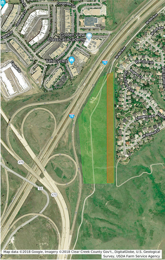 The location of the Golden Overlook land, currently under discussion. The red strip of land is proposed by the landowner to be used as greenspace, acting as a buffer between the new uses and existing residential houses.