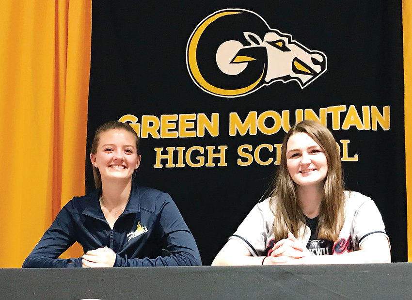 Green Mountain's Summer Olson, left, will be running cross country and track for the College of Saint Mary. Jessica Greenwood has committed to play softball at Oklahoma Wesleyan University.