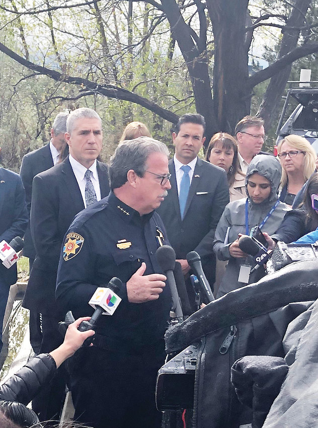 Douglas County Sheriff Tony Spurlock, joined by county commissioners and school district staff, gives an update on the school shooting that killed one student and injured eight.