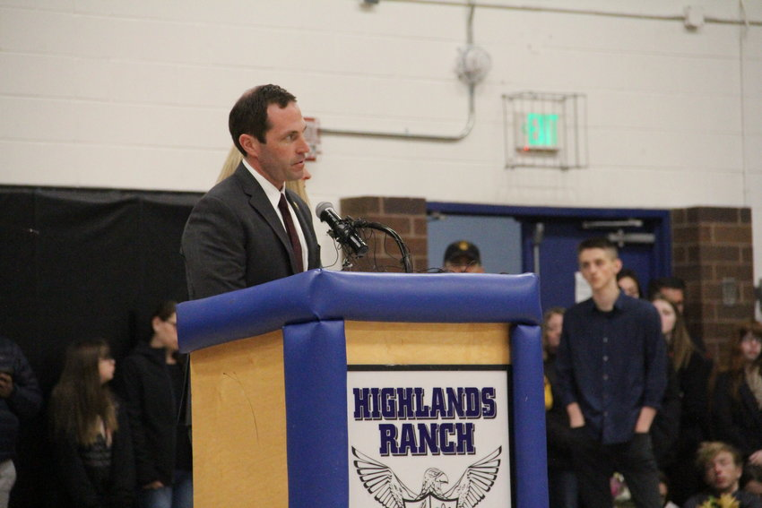 U.S. Rep. Jason Crow, a Democrat whose congressional district includes Highlands Ranch, speaks at a May 8 vigil at Highlands Ranch High School for STEM School shooting victims and survivors.