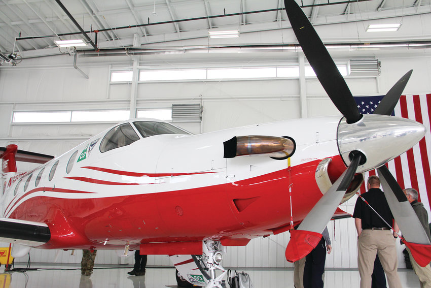 A plane that helps respond to wildfires on display May 7 at Centennial Airport after state officials spoke about Colorado's 2019 wildfire forecast.