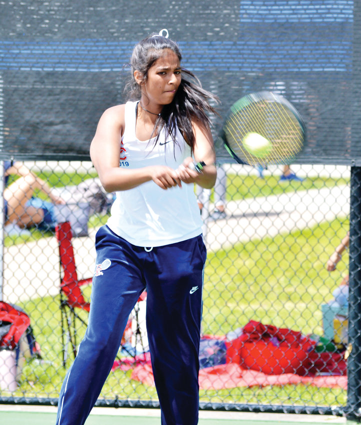 Cherry Creek senior Sayuri Garud downed Lakewood's Mikaela Haas, 6-2, 6-1, to win the No. 3 singles championship on May 11 at the CHSAA girls state tennis championships held at the Gates Tennis Center. The Bruins won their 36th overall girls state tennis championship and the 22nd in the past 23 seasons.