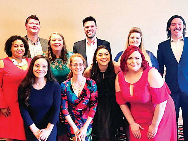 Winners in the Denver Lyric Opera Guild's annual competition for young opera singers: Front-Jovahnna Borboa, Amy Maples, Kira Dills-DeSurra, Kyrie Laybourn. Back-Daisha Togawa, Jeremy Reger, Erin Hodgson, Eric McConnell, Katheryne Baker, Matthew Peterson.