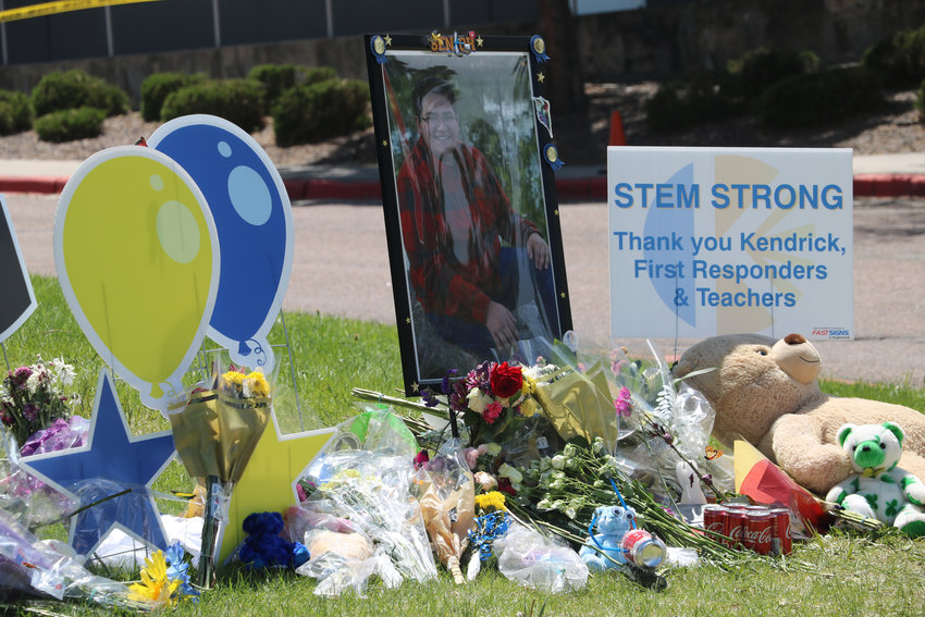 A memorial sits outside of STEM School Highlands Ranch, where a shooting on May 7 left one student dead and eight others injured. Students were given the option to go back to school on May 15 to finish out the year.
