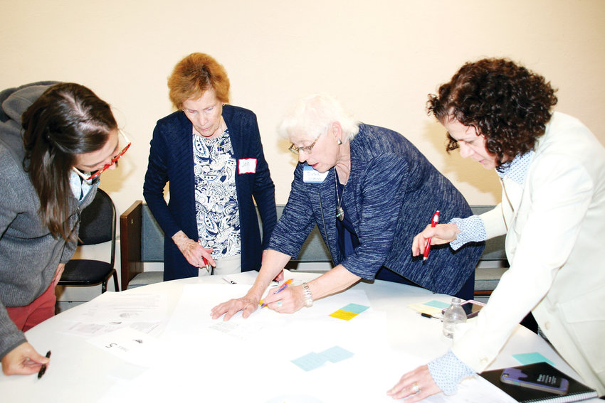 A group of Golden residents work together on developing some questions to be answered by the experts during Golden United's Planning and Zoning Educational Event on May 7.