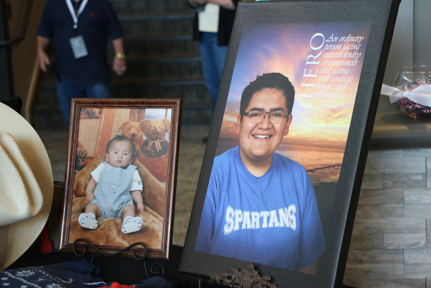 Some of Kendrick Castillo's favorite items, along with an assortment of photos, sat on a table outside of the sanctuary at Cherry Hills Community Church on May 15. Guests were invited to the church to celebrate the life of Castillo, who was killed in the school shooting at STEM School Highlands Ranch.