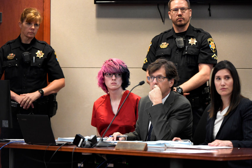 STEM School Highlands Ranch shooting suspect 18 year old Devon Erickson, facing 48 criminal charges makes a court appearance at the Douglas CountyCourthouse May 15, 2019, in Castle Rock, Colorado.