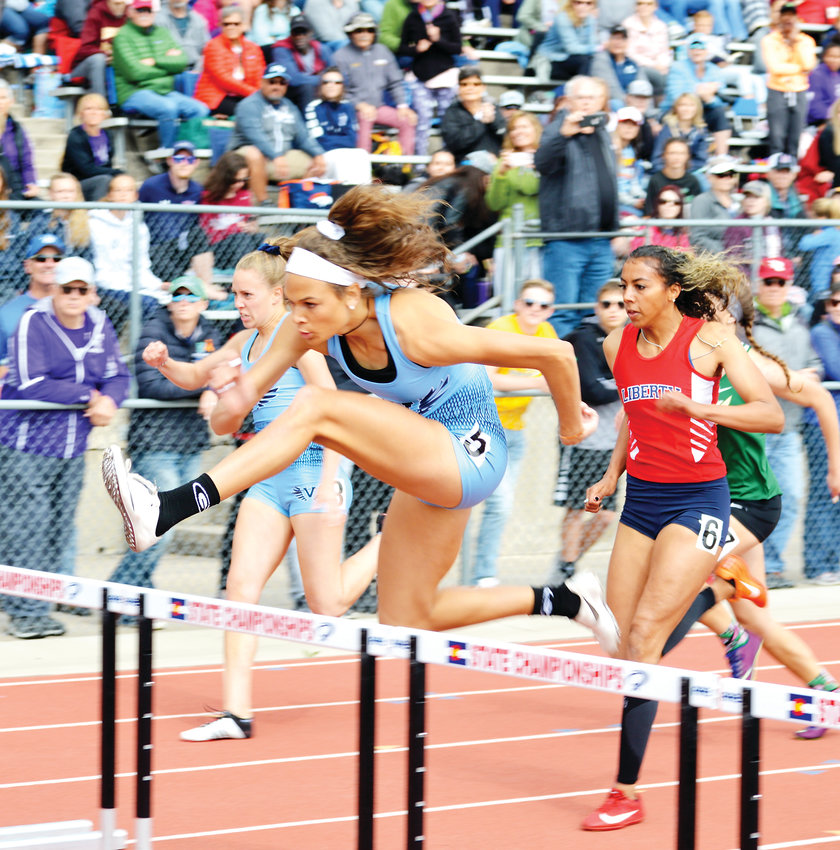 Valor Christian senior Anna Hall wins the 100 meter hurdles on May 18 at the CHSAA State Track Championships at Jeffco Stadium. Hall also won the 300 hurdles and anchored two record setting relay teams and help lead the Valor girls to the state championship.