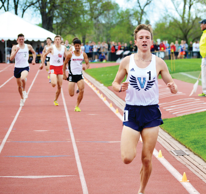 Valor Christian junior Cole Sprout won the 3,200 race on May 18 at the CHSAA Track Championships at Jeffco Stadium. Sprout also won the 1,600 race and helped the Eagles boys team capture the team title.