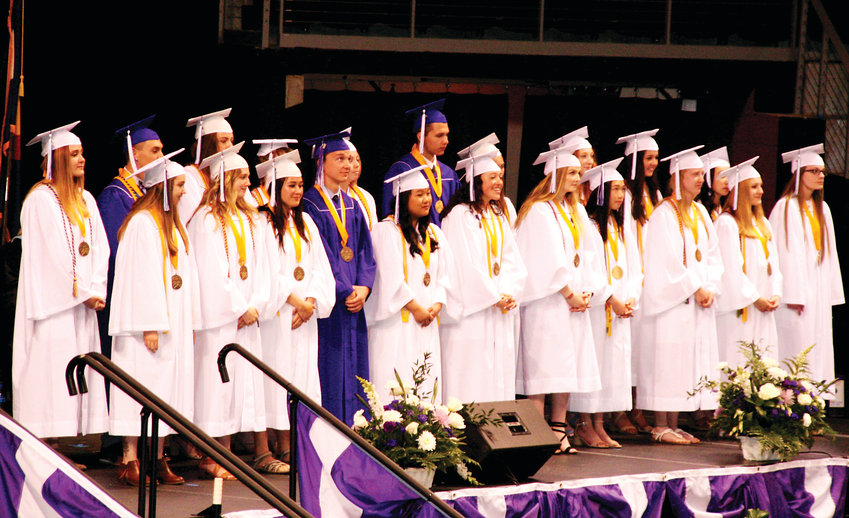 Arvada West High School's 21 valedictorians are recognized during the Class of 2019 graduation on May 17.