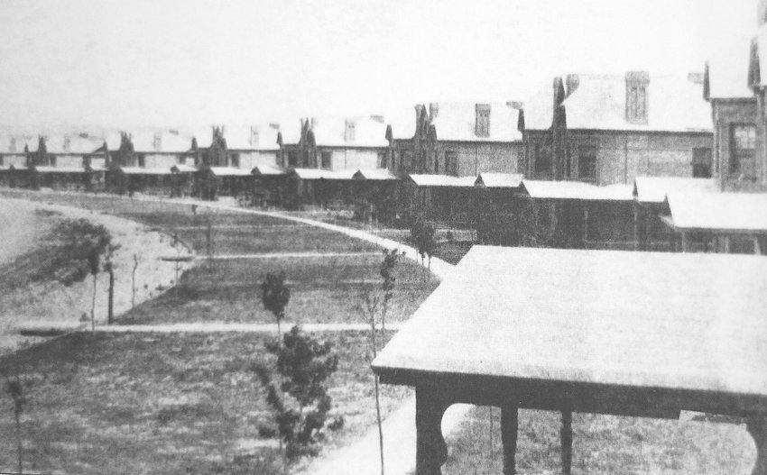 Duplexes on Officer's Row at Fort Logan in 1892.