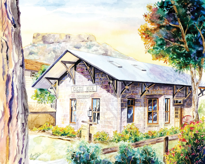 Castle Rock's Museum in the old D, R and G Depot at 420 Elbert St., is portrayed in a new watercolor by Cindy Welch.