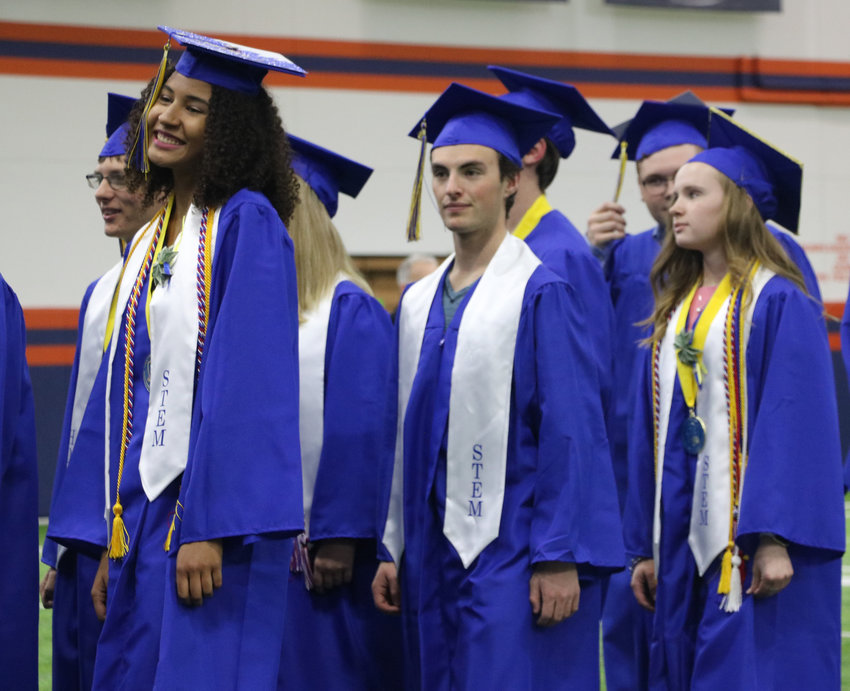 STEM School Highlands Ranch graduates wait to be seated at a May 20 commencement ceremony at the Broncos Training Facility in Centennial. Hundreds of guests showed up to support the graduating class.