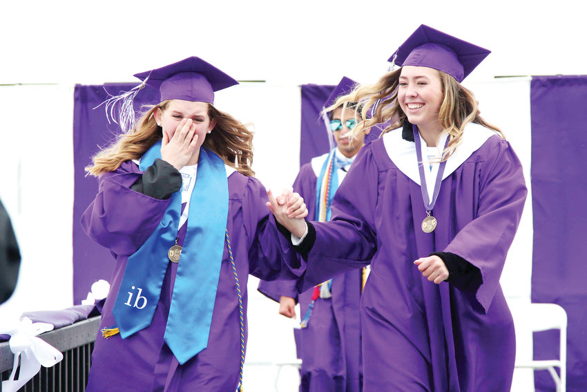While some seniors cheered, smiled and laughed others became emotional after being handed their diploma during the 2019 commencement ceremony at Douglas County High School.