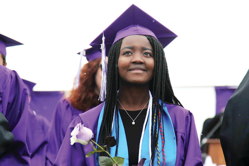 Douglas County High School seniors were given purple and white roses after receiving their diploma May 21.