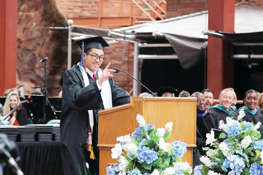 Valedictorian JiaWei Yu addresses the crowd and fellow classmates May 22 during the 2019 graduation ceremony for Highlands Ranch High School.