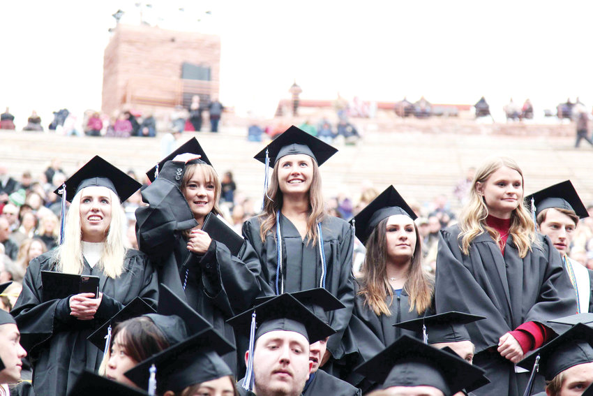 Seniors cheered for each other as the 2019 graduating class at Highlands Ranch High School walked across the stage at Red Rocks Amphitheatre to receive their diploma.