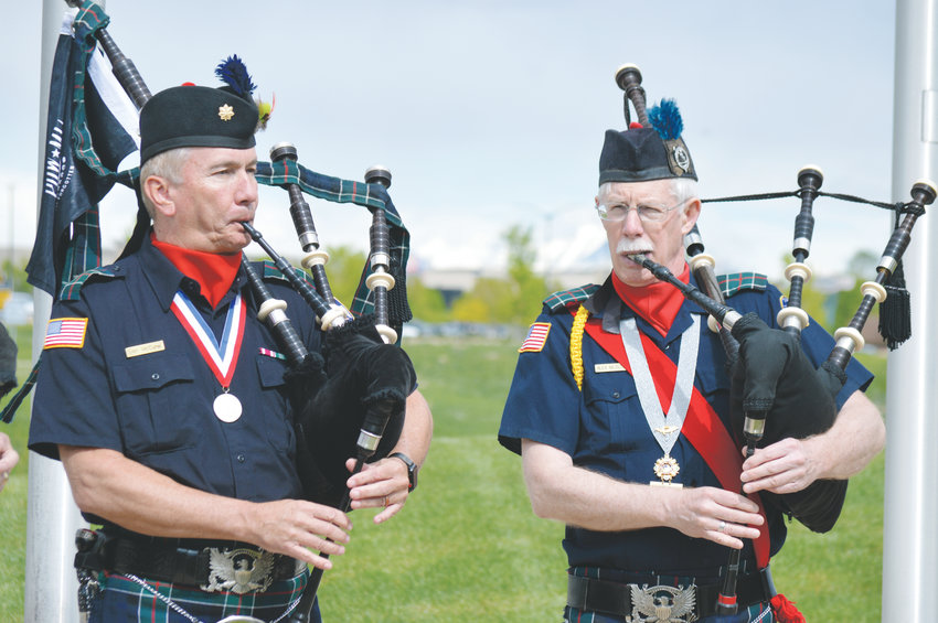 Members of the El Jebel Shrine Drum and Pipe corps play May 18 at the Westminster Armed Forces Tribute Garden. It was part of the city's annual commemoration of Armed Forces Day.