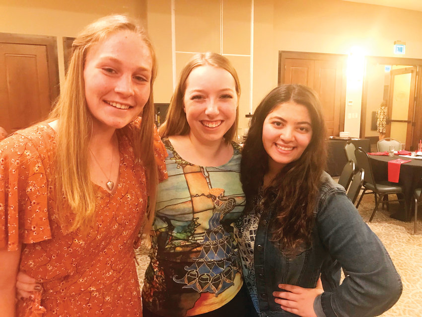 Three of the seven graduating seniors from Jefferson Academy who are recipients of 2019 Rotary Club of Westminster Scholarships, from left: Eleanor Wall (Flachman Communication/Media Studies); Brynn Wooten (Challenge Scholarship); and Krysta Couzi (Karsten Deuschle Pay-it-Forward Scholarship).