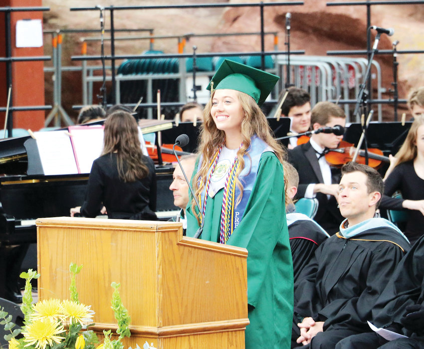 Maya Winslow, student body president at Mountain Vista High School, kicks off the 2019 commencement ceremony at Red Rocks on May 22.