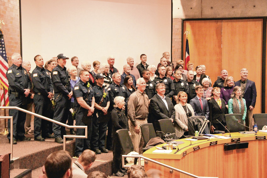 Littleton City Council on May 21 recognized the heroism of first responders and volunteers who saved countless lives in last November's fire at the Windermere apartments and its aftermath. The fire claimed the life of resident Michael Mitchell, injured many and left 163 seniors homeless.