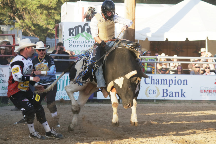Clayton Sellars competes during last year's Elizabeth Stampede Xtreme Bulls event.