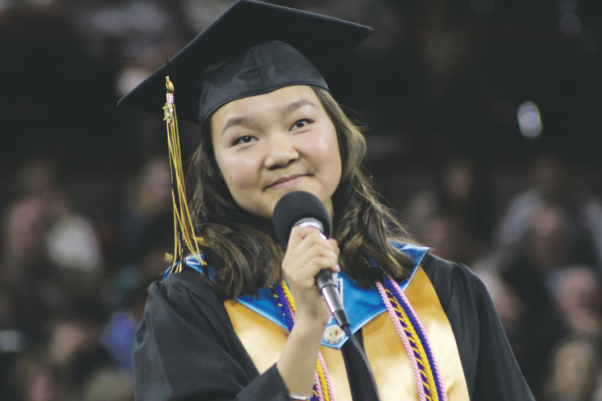 "Isabel Weiss performs ""The Light That Never Fails at the 2019 Rock Canyon graduation at Magness Arena May 25."