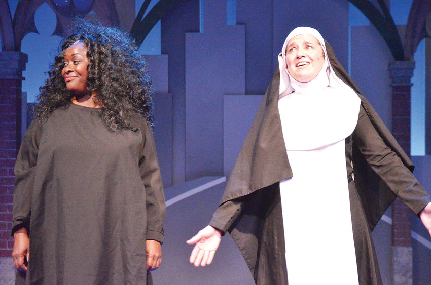 "Cheryl Renee and Margie Lamb star in ""Sister Act"" on the stage at Town Hall Arts Center in Littleton."