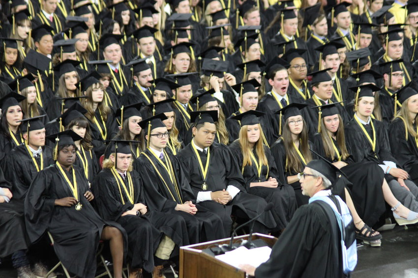 Littleton Public Schools Superintendent Brian Ewert addresses Arapahoe High School's class of 2019 at the University of Denver's Ritchie Center on May 25.